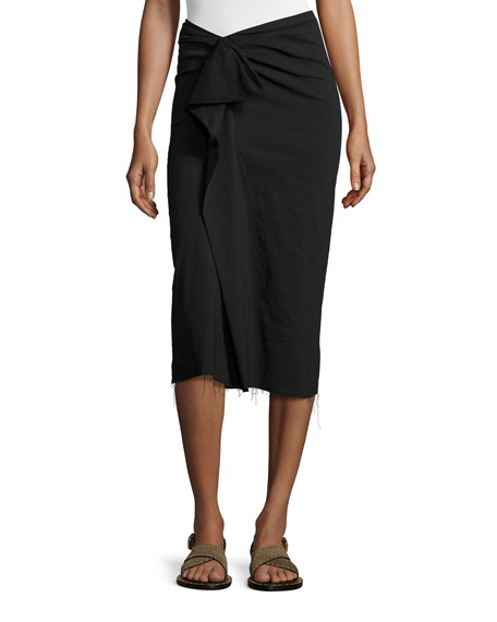 Raw-Edge Ruffle-Front Pencil Skirt, Black