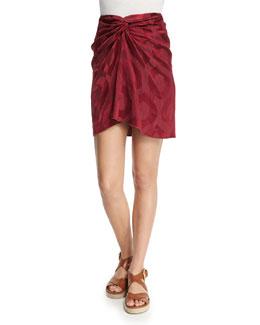 Twist-Front Mini Skirt, Raspberry