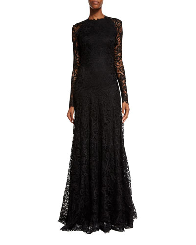 Long-Sleeve Lace Keyhole Gown, Black