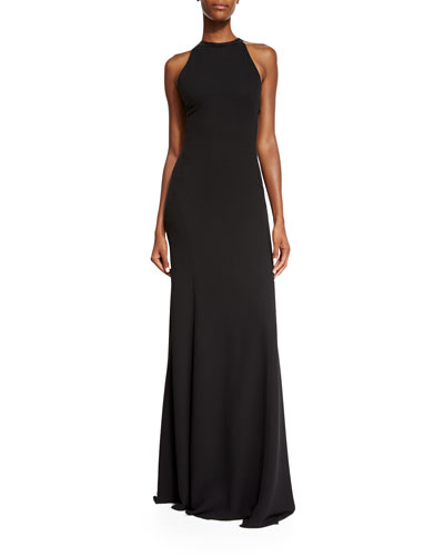 Cross-Back Cady Halter Gown, Black