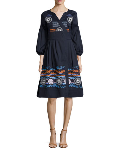 Embroidered Faux-Wrap Dress, Navy