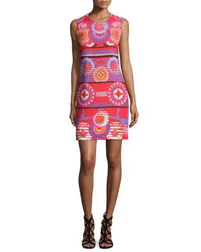 Medallion-Print Sleeveless Shift Dress