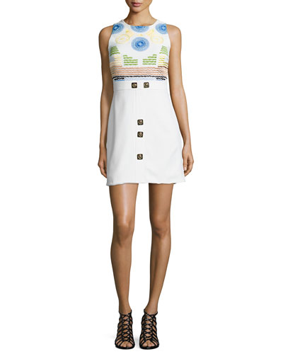 Embroidered Sleeveless Mini Dress, White