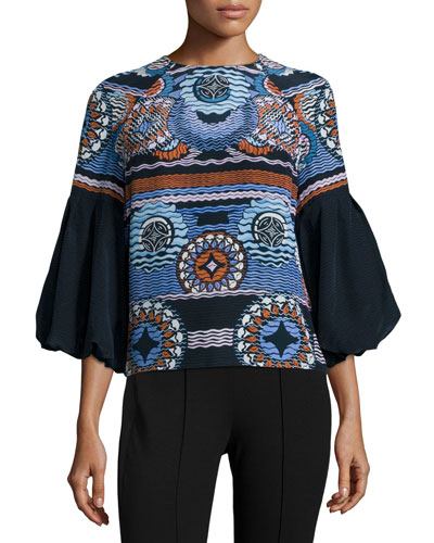 Printed Bell-Sleeve Silk Top, Navy