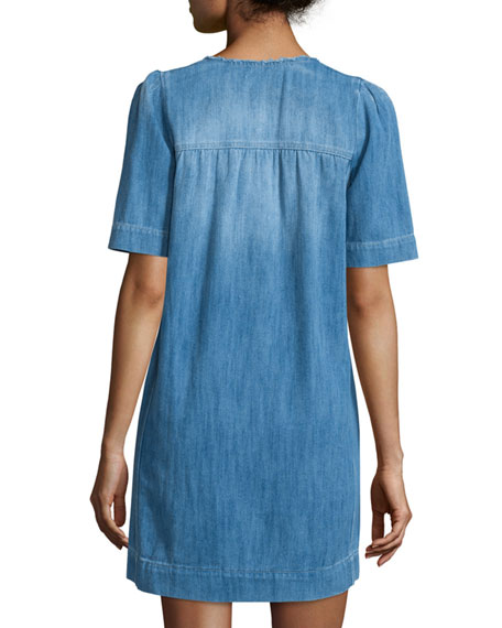 Oriane Half-Sleeve Denim Dress, Blue