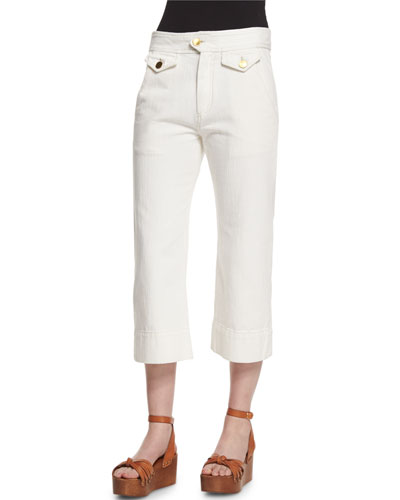 Orsen Cropped Flare-Leg Pants, Chalk