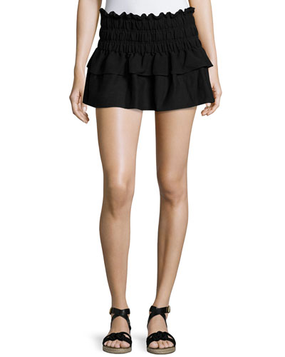 Krista Ruffled Linen Mini Skirt
