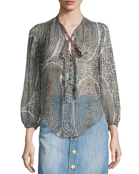 Etoile Isabel MarantSiandra Printed Silk Tie Neck Blouse