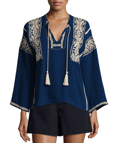 Vince Embroidered Tassel Tunic