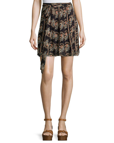 Sistle Printed Silk Tie-Waist Mini Skirt, Black