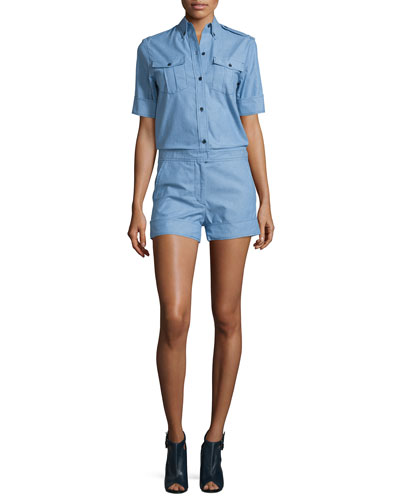 Wei Button-Down Chambray Jumpsuit, Light Blue