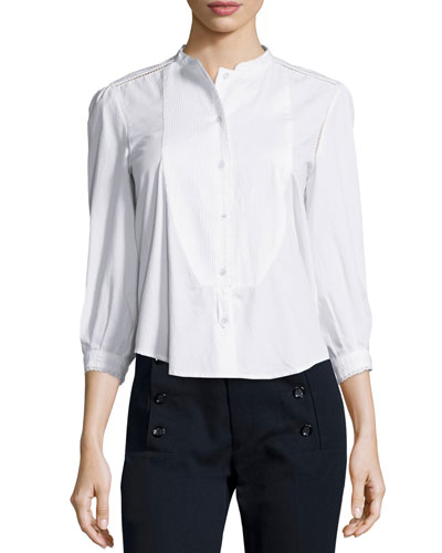 Daisy Bib Collar Blouse, White