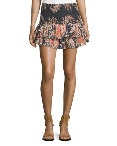 Shanon Ruffle-Hem Mini Skirt, Black