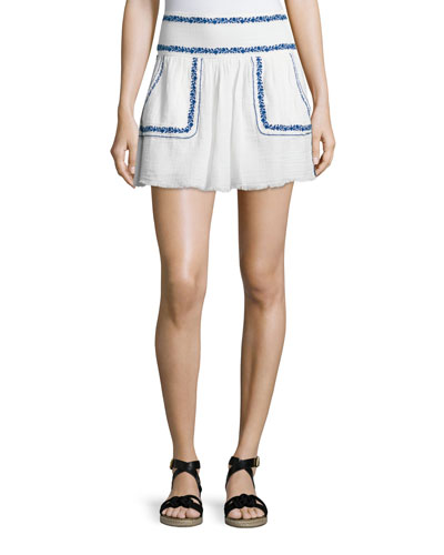 Vittoria Embroidered Mini Skirt, White