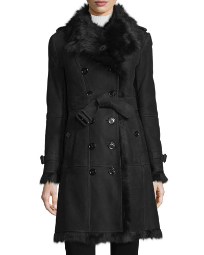 Trench-Style Shearling Coat, Black