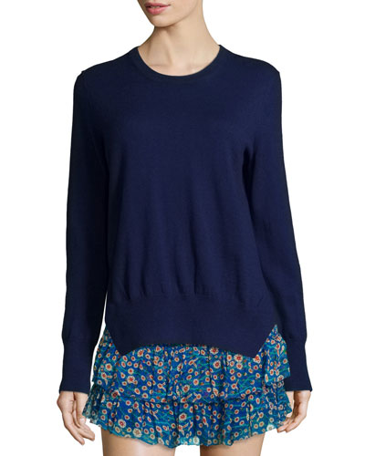 Kerstin Knit Crewneck Sweater, Midnight