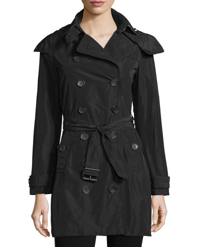 Double-Breasted Mid-Length Trenchcoat, Black