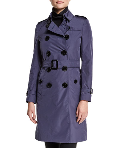 Double-Breasted Belted Trench Coat, Dark Heather Blue