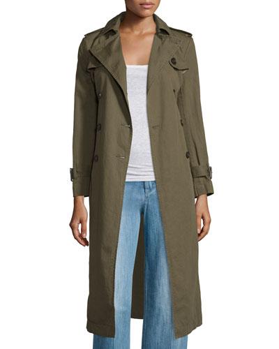 Maden Long Cotton/Linen Trenchcoat, Bronze