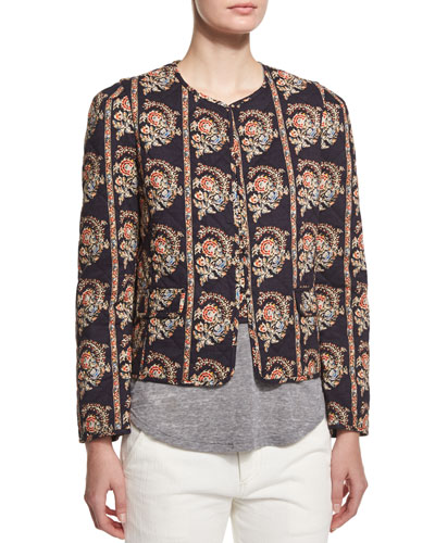 Elmer Quilted Paisley-Print Jacket, Black