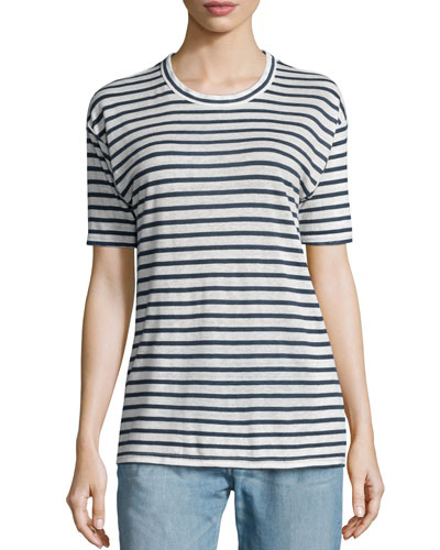Ken Striped Short-Sleeve Tee, White/Blue