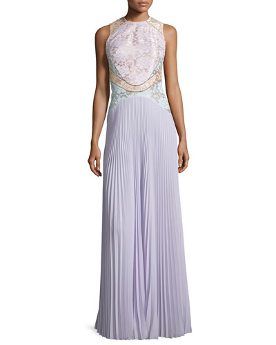 Sleeveless Lace Combo Gown, Lilac