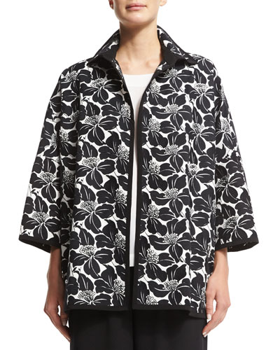 Pearly Hand-Embroidered Open Jacket w/Collar, Black