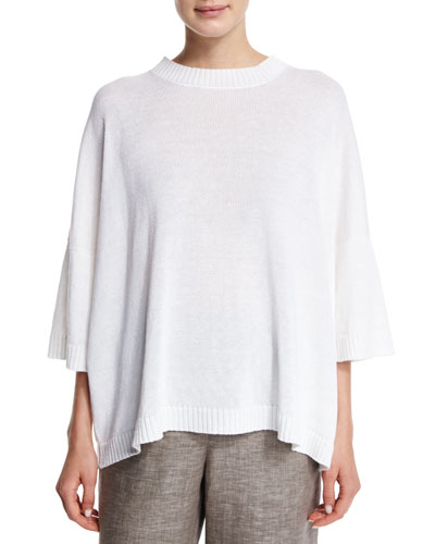 3/4-Sleeve Round-Neck Linen Sweater, White