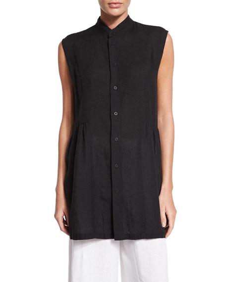 Sleeveless Pleated Handkerchief Linen Button-Down Top, Black