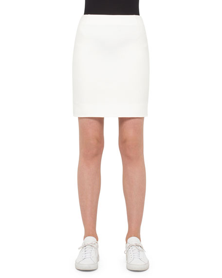 Fitted Back-Zip Jersey Skirt, Cream