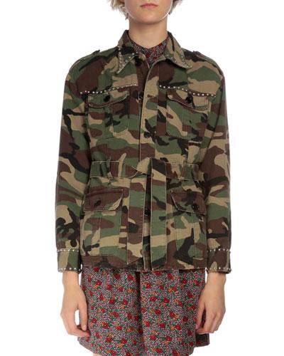 Studded Camo Cargo Jacket