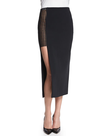 Cady Pencil Skirt w/Macrame Inset, Black