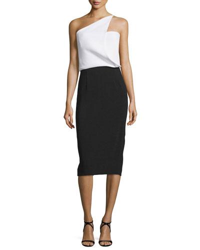 One-Shoulder Bicolor Cady Dress, Black/White