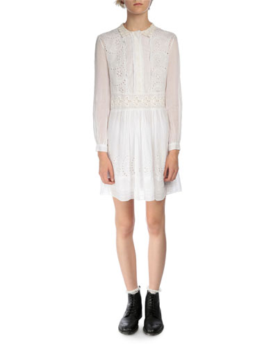 Long-Sleeve Eyelet Voile Shirtdress