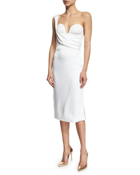 One-Shoulder Bustier Dress, White