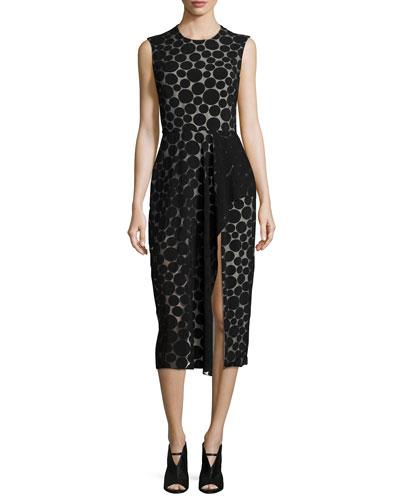 Dot-Print Ruffled Slit Dress