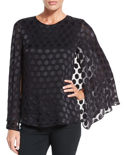 Silk Dot Cape-Sleeve Blouse, Black
