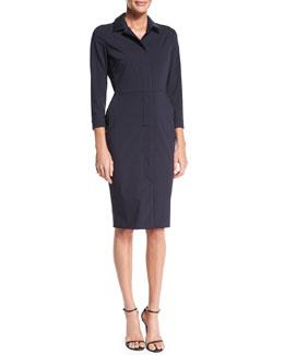 3/4-Sleeve Wool/Silk Shirtdress, Ultramarine