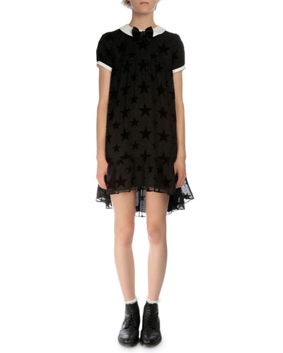 Short-Sleeve Burnout-Star Dress, Black