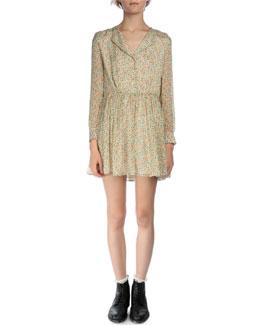 Mini Floral-Print Button-Front Silk Dress
