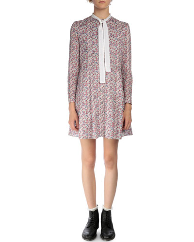 Floral-Print Cotton Tie-Neck Dress