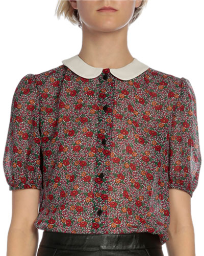 Mini Floral-Print Peter Pan Blouse