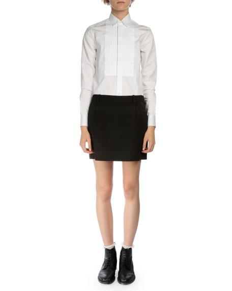 Tuxedo-Striped Wool Mini Skirt