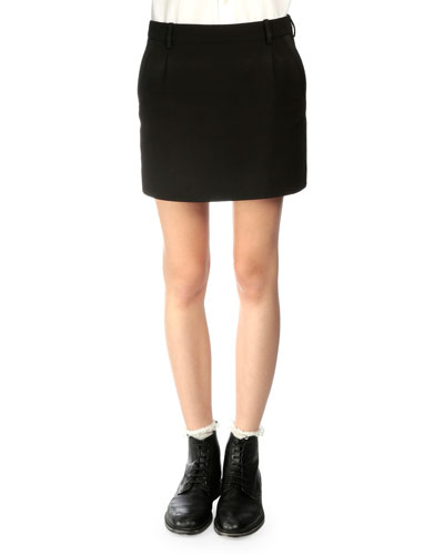 Tuxedo-Striped Wool Mini Skirt