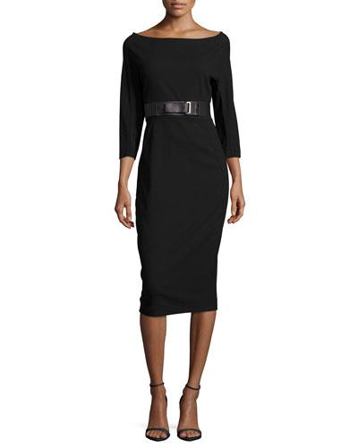Ultra-Stretch 3/4-Sleeve Sheath Dress, Black