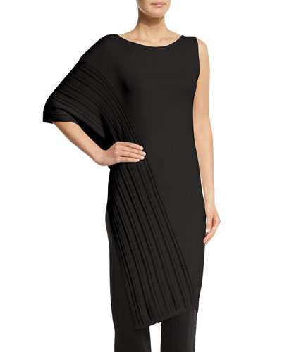 Dropped Needle Asymmetric Tunic, Black