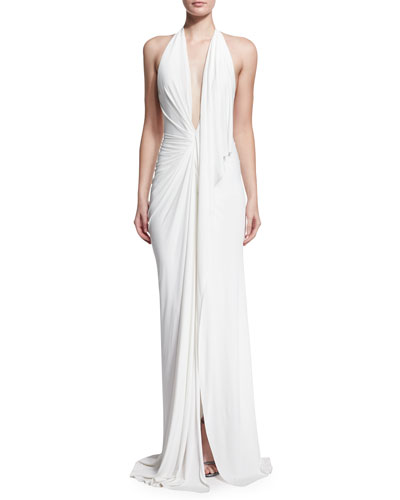 Plunging Superfine-Jersey Halter Gown, Ivory