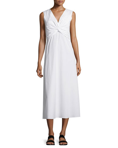 Gathered V-Neck Poplin Midi Dress, White