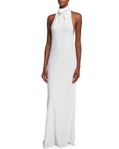 Cady Bandana-Neck Open-Back Gown, Ivory