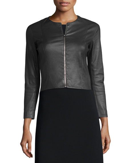 Cropped Leather Zip-Front Jacket, Black